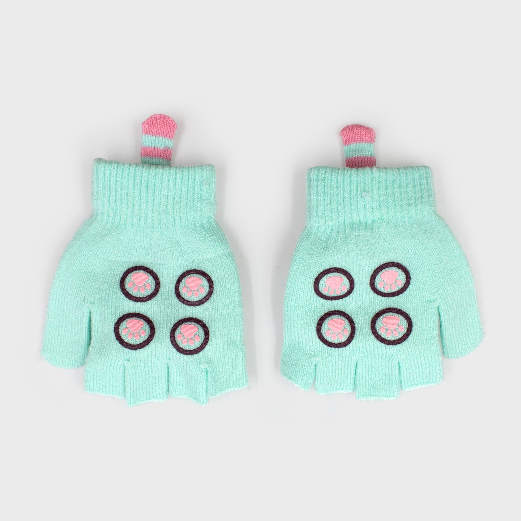 pusheen gloves mittens character green mint cute adorable winter fall cold accessory culturefly