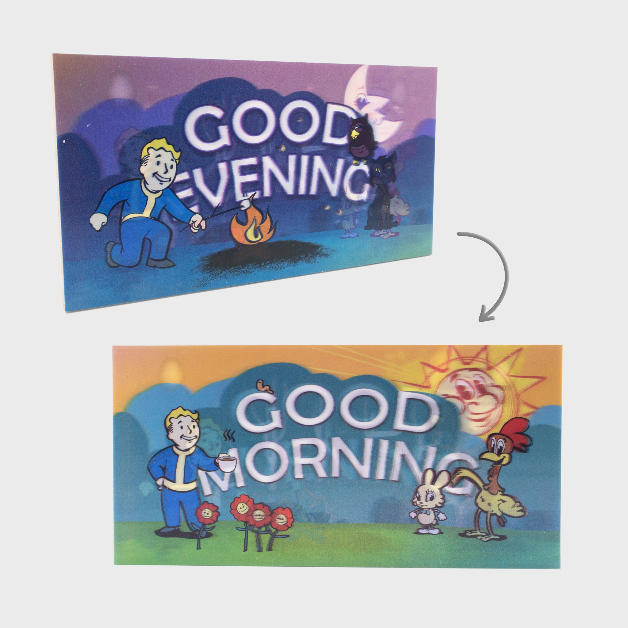 fallout 76 gaming video games vault boy nuka cola collectible lenticular signs good morning good evening culturefly