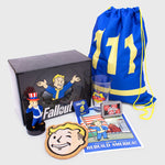 fallout 76 bethesda video game gaming vault boy america collector box collectible exclusive vinyl figure drawstring bag cork board pint glass poster bottle caps enamel pin culturefly