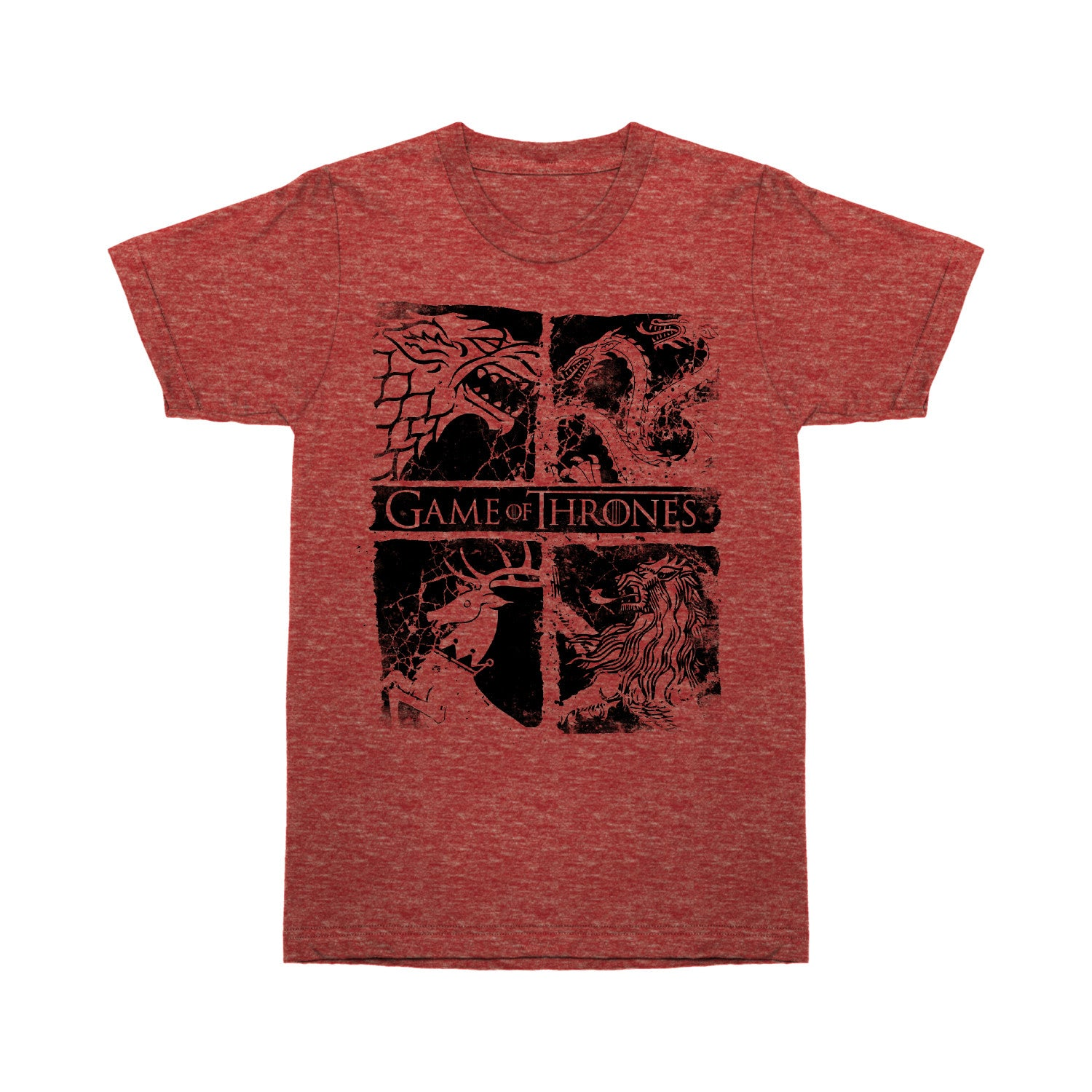 red game of thrones sigil t-shirt