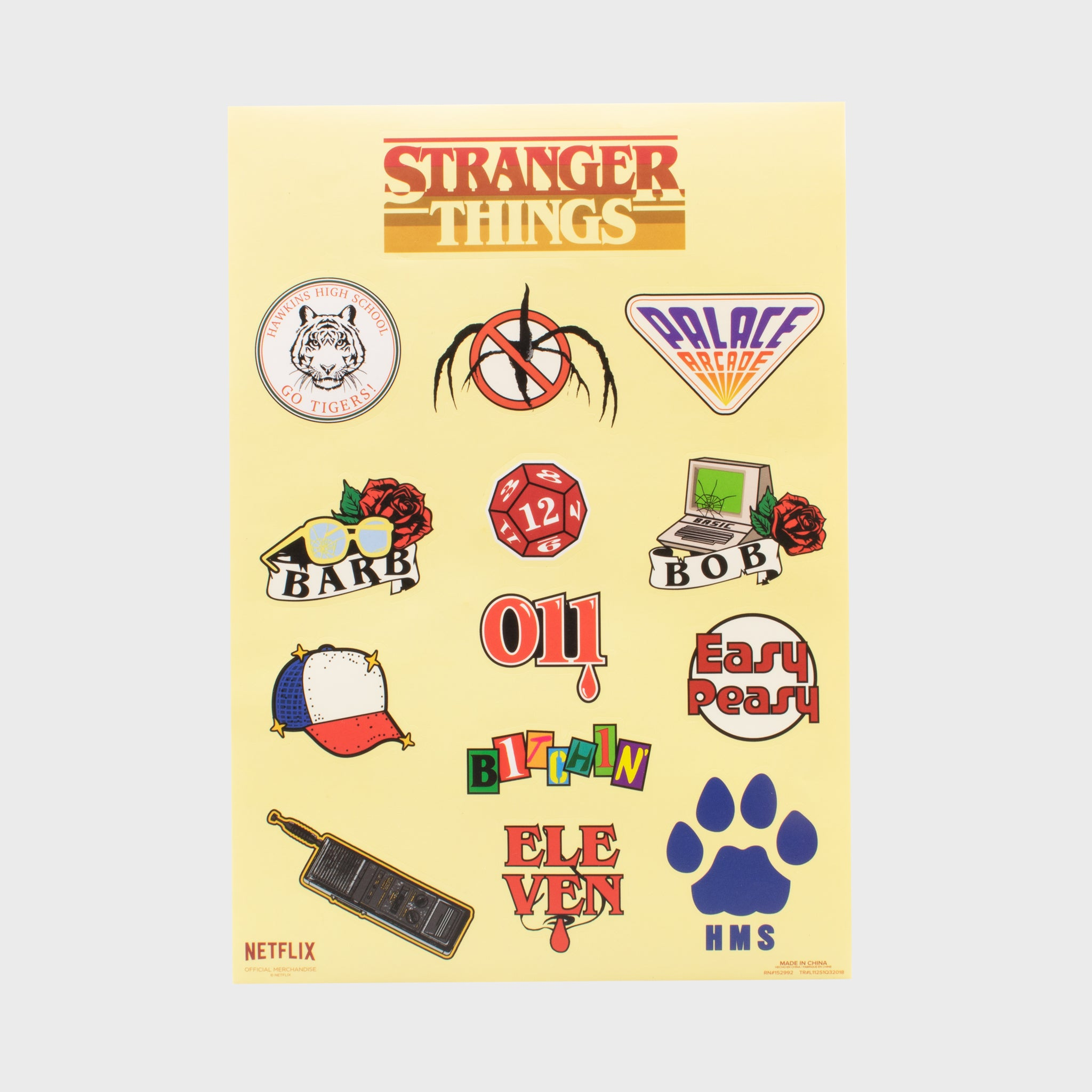 stranger things sticker sheet stickers eleven netflix collector's box collectible exclusive upside down waffles culturefly