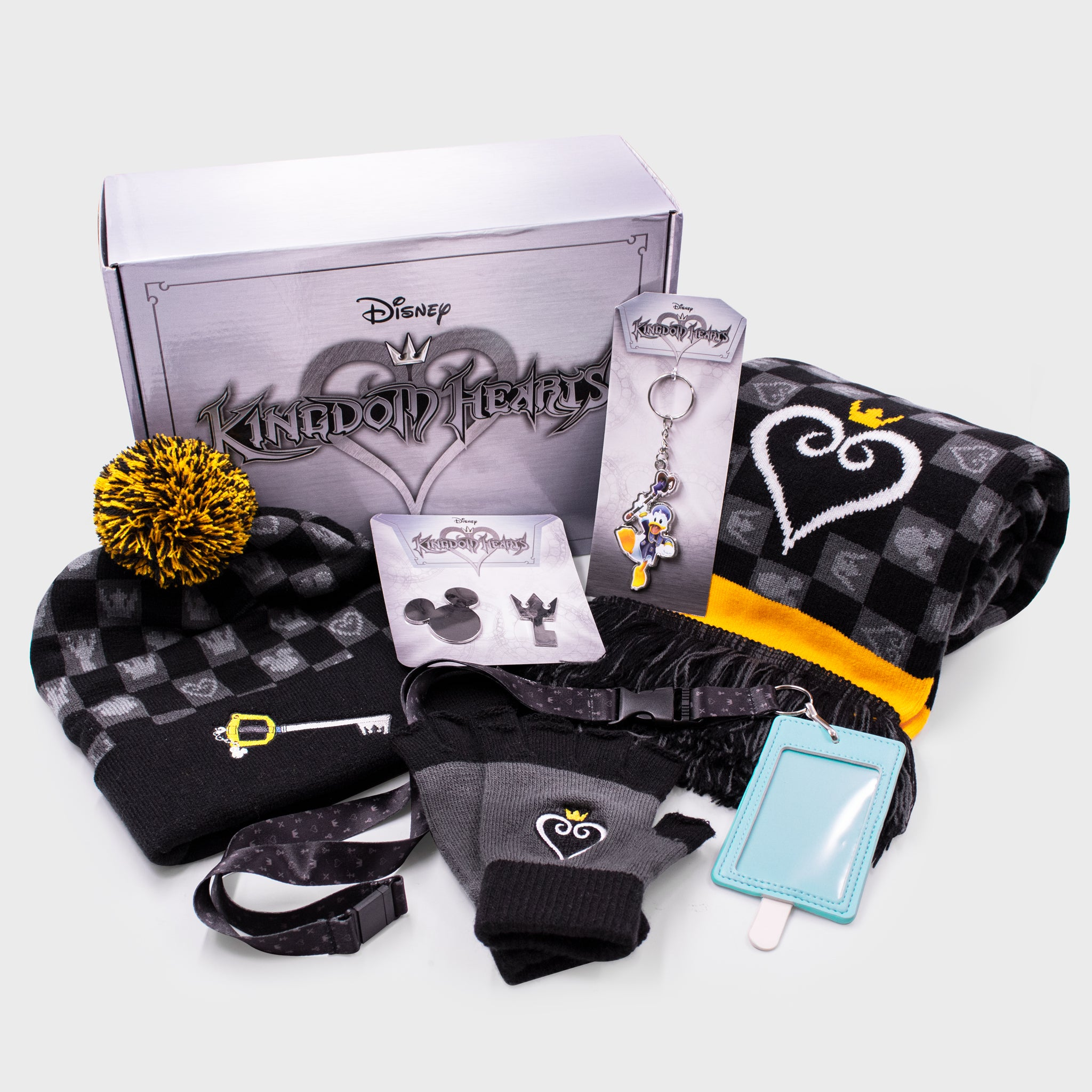 kingdom hearts disney square enix gaming video game collector box accessories exclusive collectible beanie hat gloves keychain lanyard enamel pins scarf winter cold culturefly