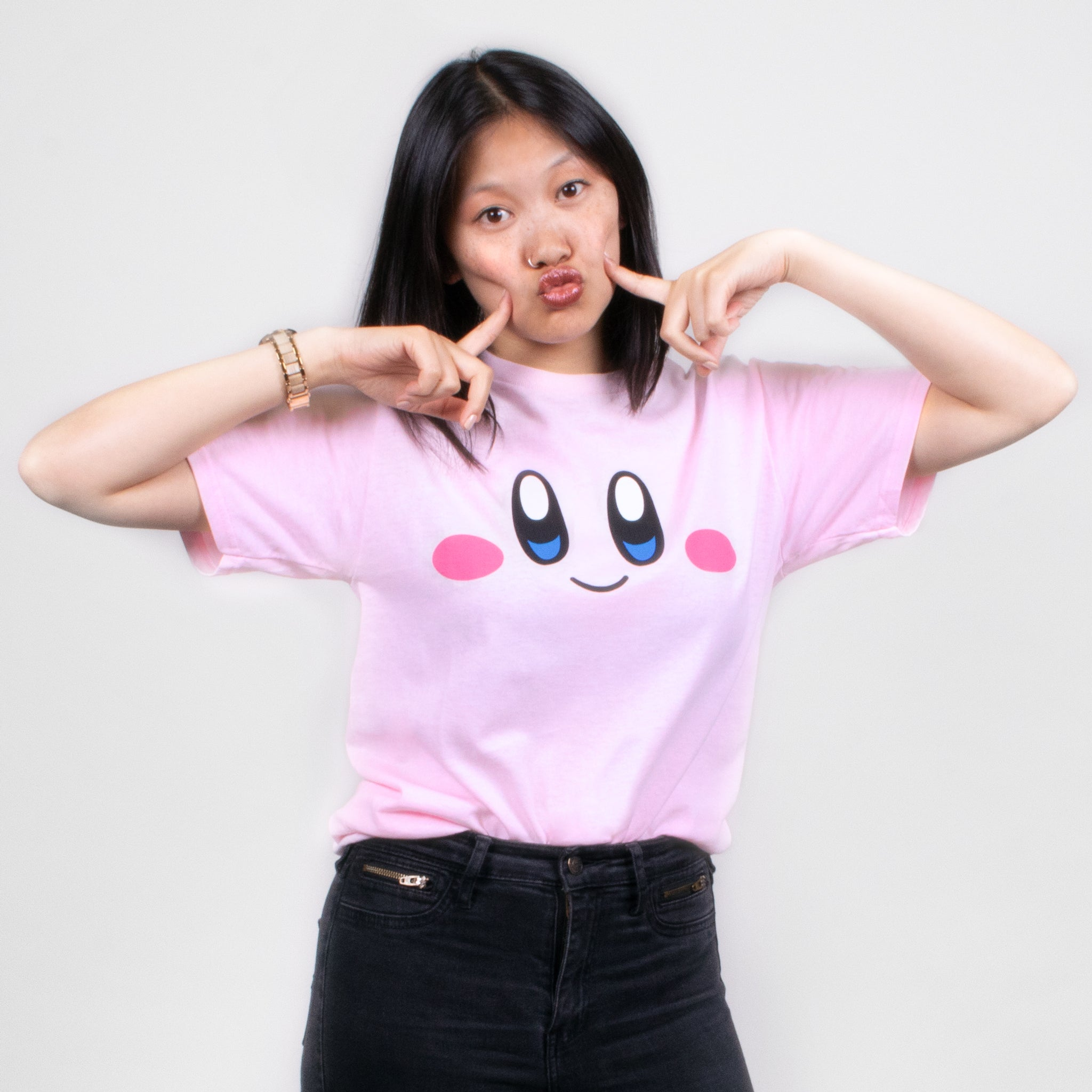 women kirby pink face nintendo video games gaming t-shirt apparel shirt graphic culturefly