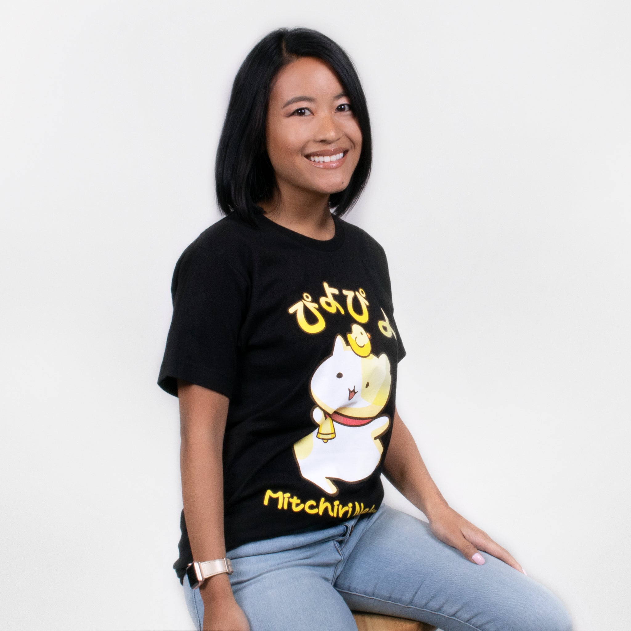 women Mitchiri Neko cat piyopiyo chick cute t-shirt graphic shirt apparel culturefly
