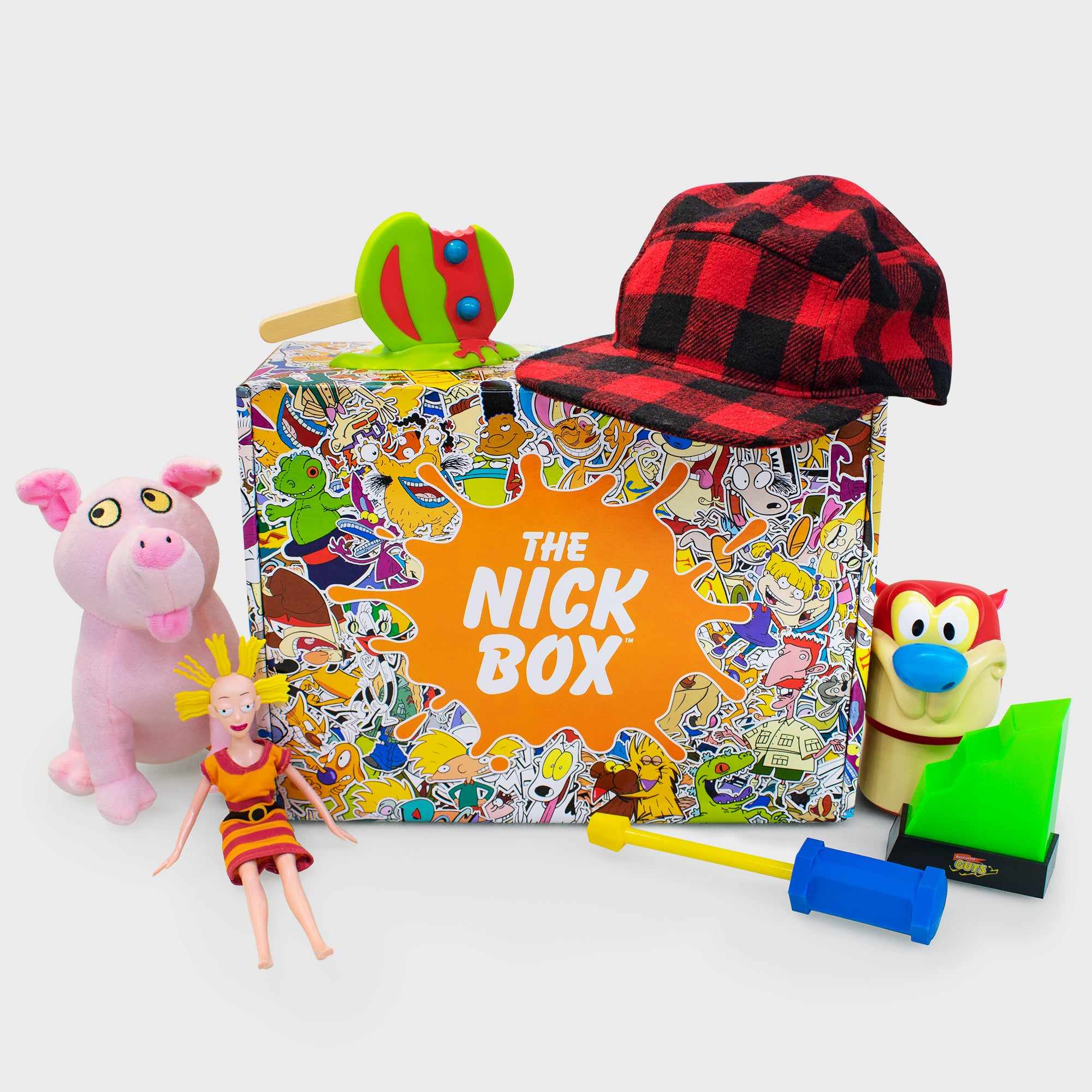 the nick box nickelodeon 90s kids 90s cartoons nostalgia throwback nostalgic classic subscription quarterly exclusive limited edition collectible reptar rugrats ren and stimpy rocko's modern life hey arnold are you afraid of the dark good burger all that culturefly