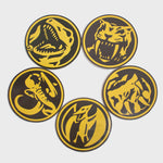 power rangers mighty morphin mmpr 90s kids green ranger black ranger blue ranger red ranger yellow ranger pink ranger exclusive gamestop retail box collectibles culturefly coaster coasters set