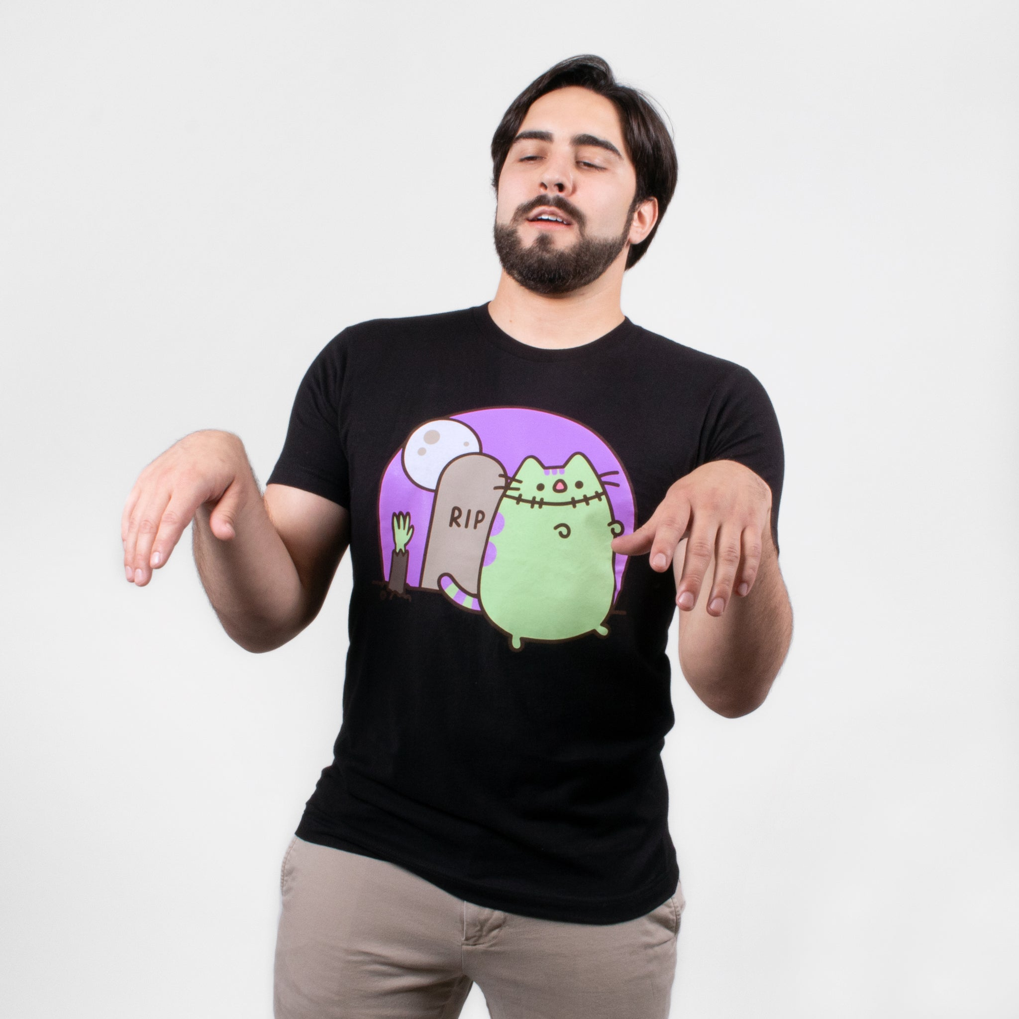 men pusheen frankenpusheen zombie monster spooky halloween spoopy apparel t-shirt graphic shirt cute cat culturefly
