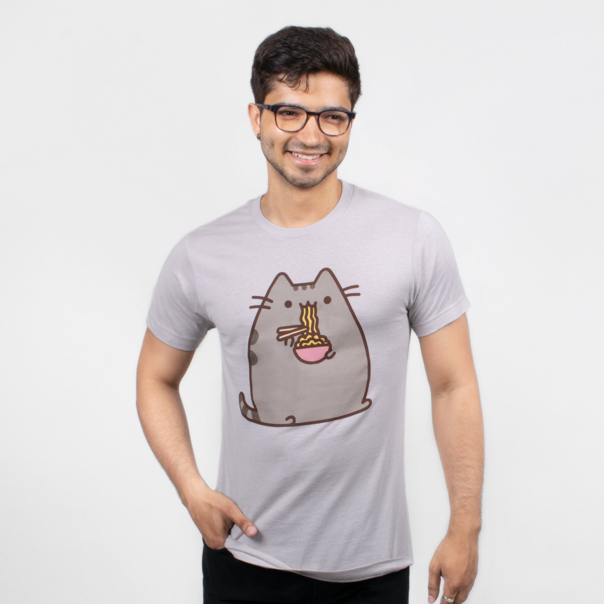 men pusheen ramen noodles eating food cat graphic short sleeve apparel t-shirt shirt culturefly