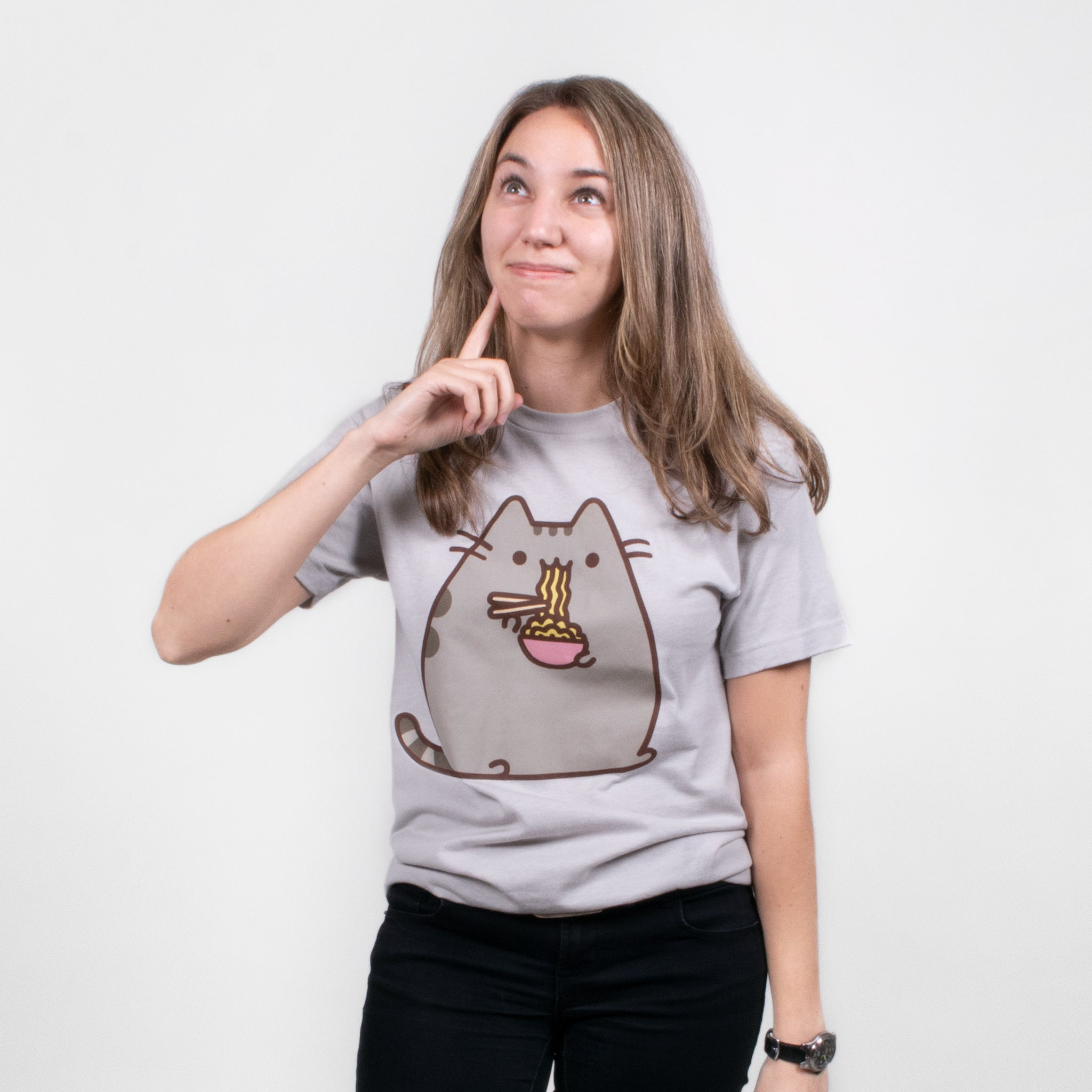 women pusheen ramen noodles eating food cat graphic short sleeve apparel t-shirt shirt culturefly