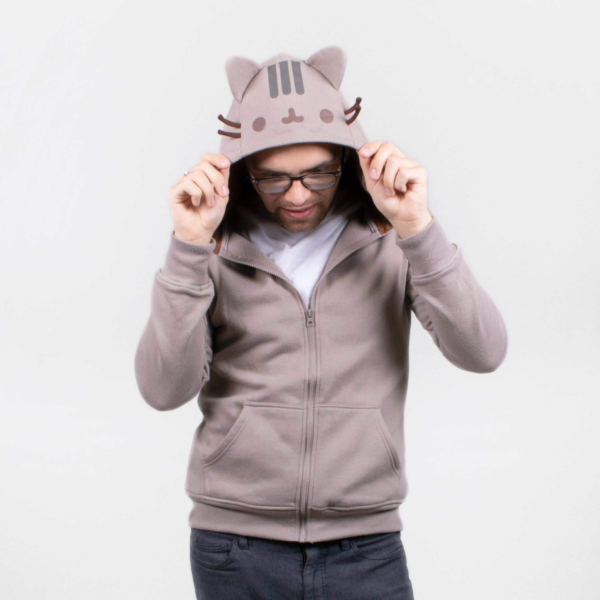 men pusheen hood hooded tail cosplay costume sweatshirt hoodie zipup apparel cute cat culturefly