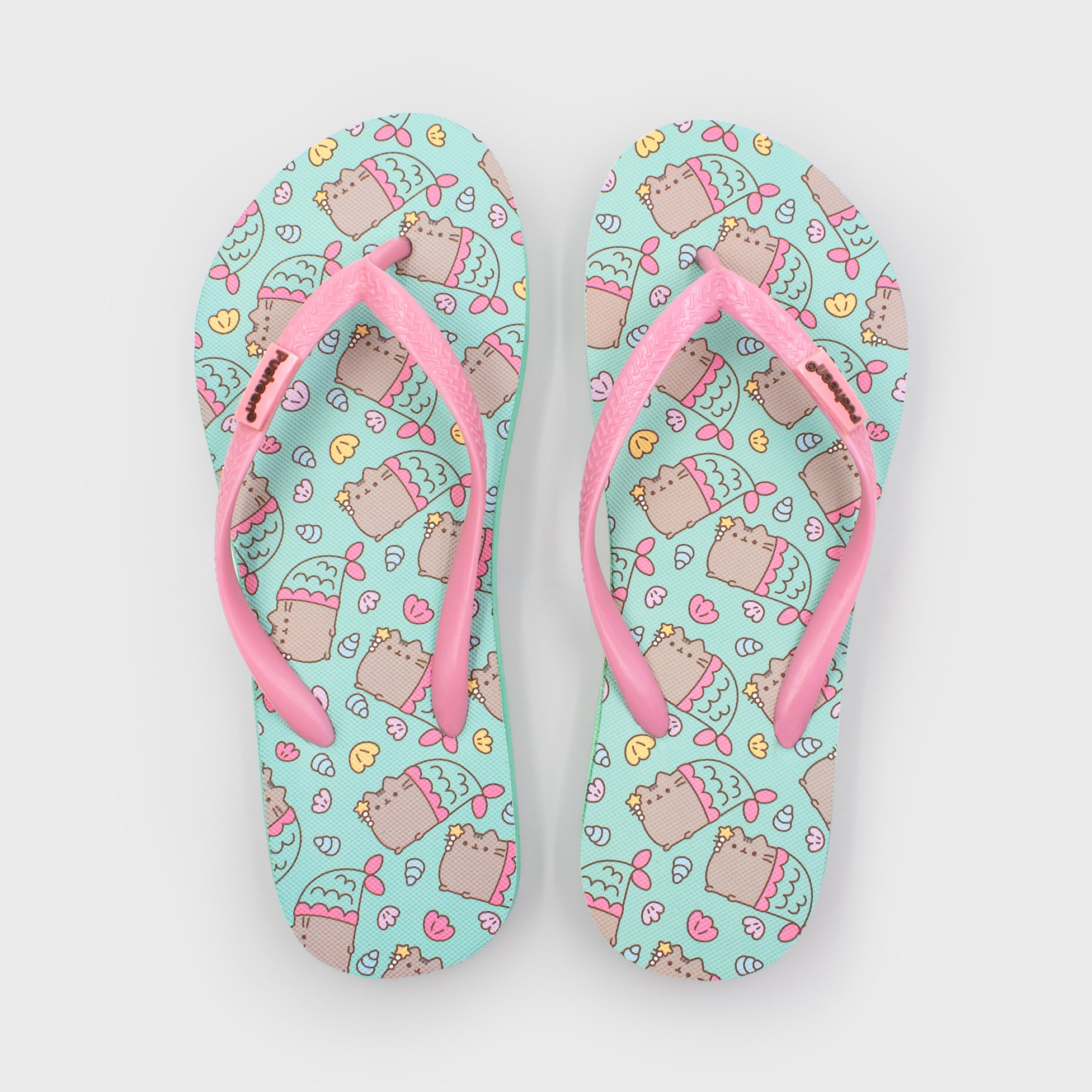 pusheen flip flops summer feetwear shoe accessory beach pool hot cute cat green mermaid adorable culturefly