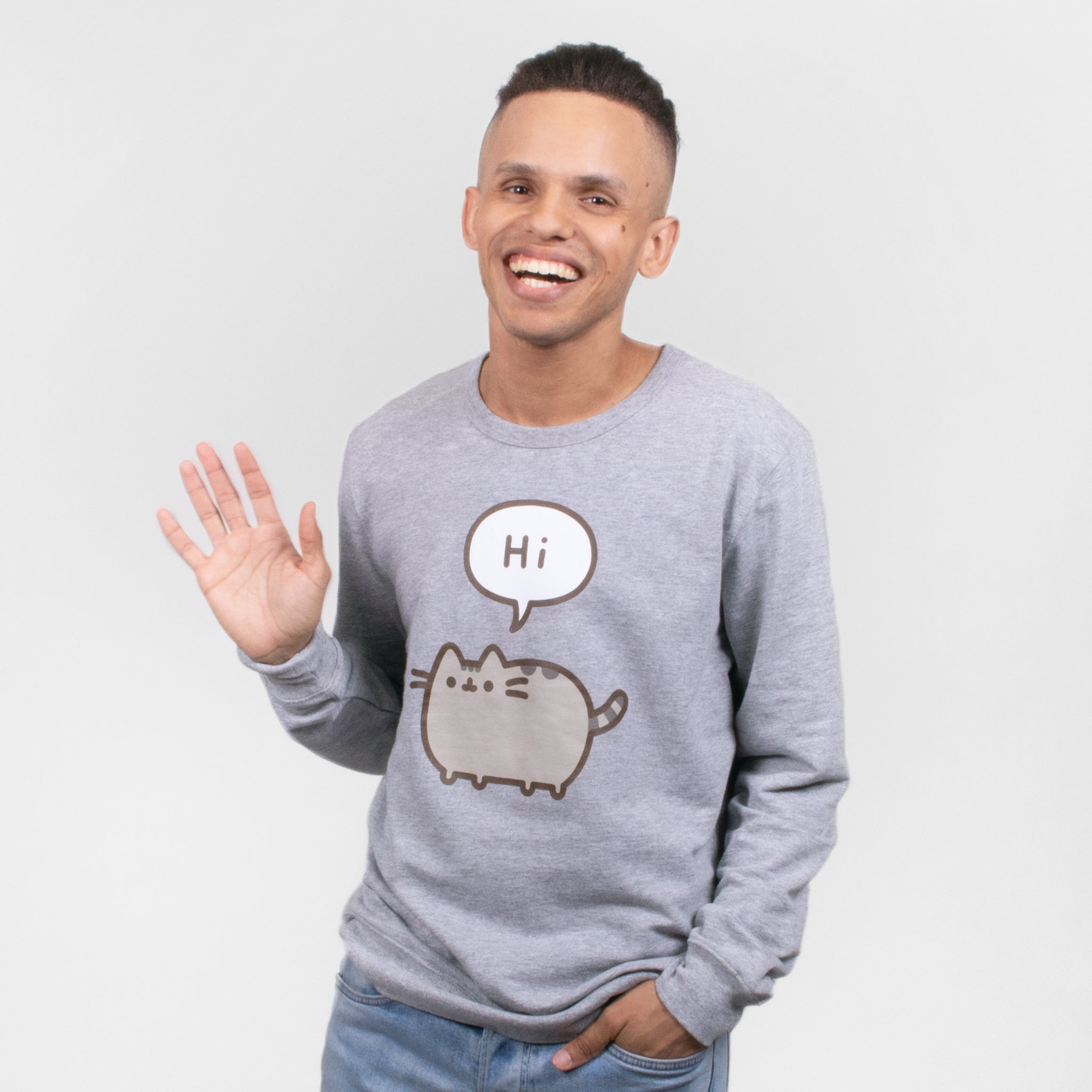 men pusheen hi bye front apparel sweater graphic longsleeve shirt cute cat culturefly