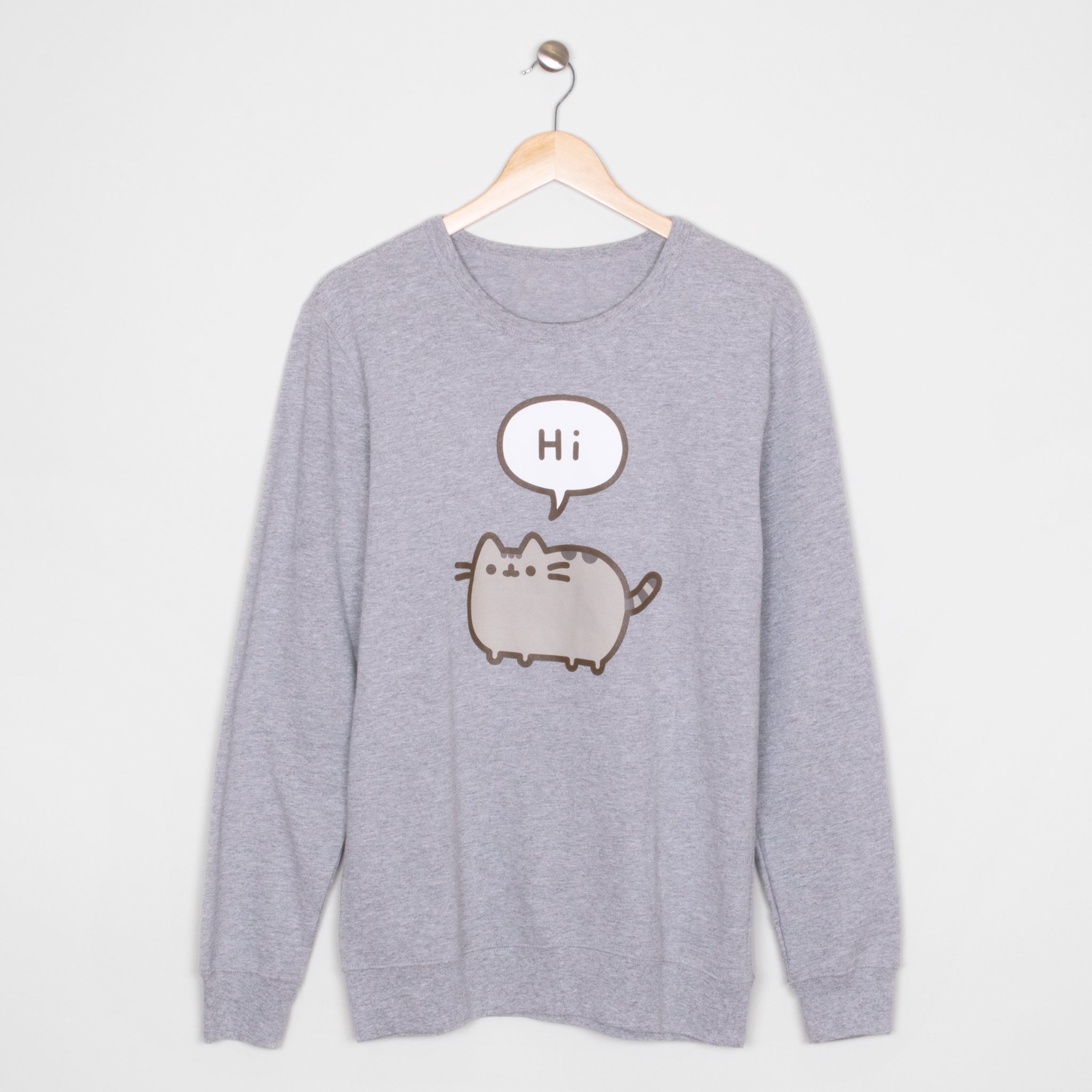 pusheen hi bye front apparel sweater longsleeve shirt cute cat culturefly
