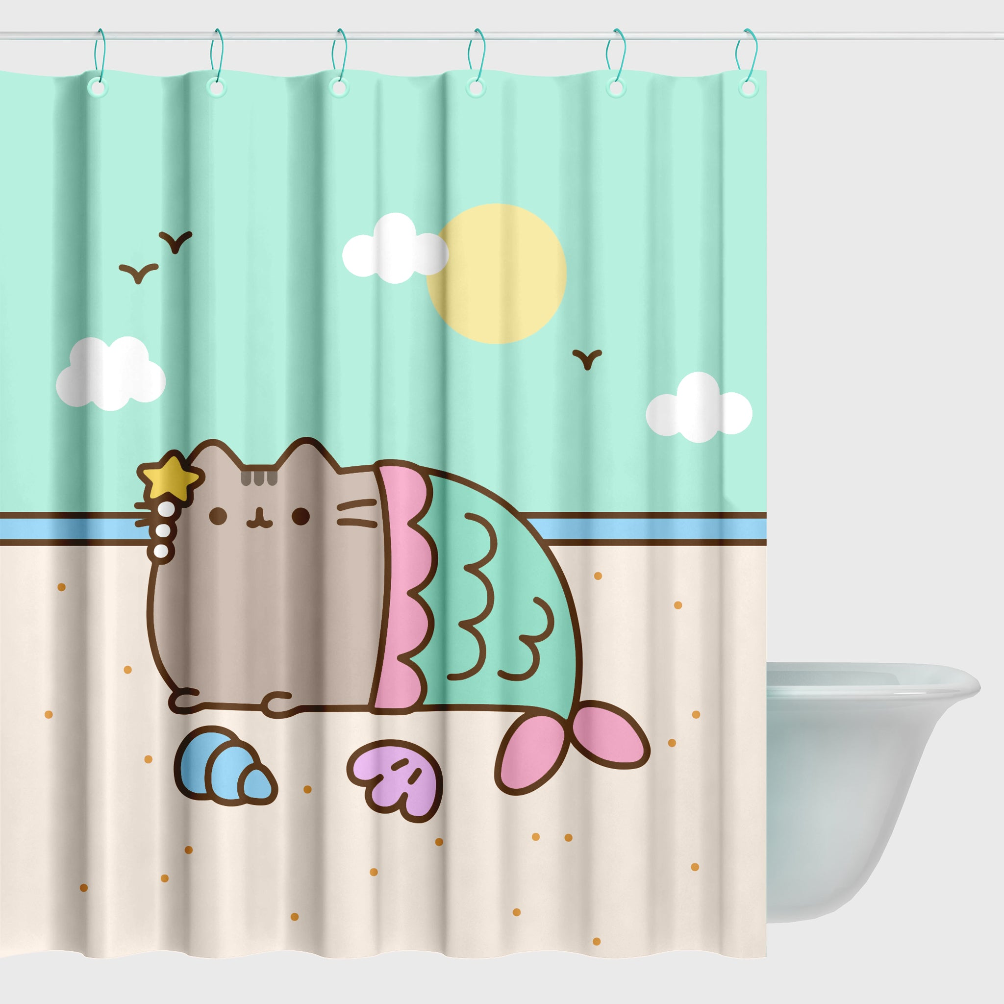 pusheen mermaid shower curtain bathroom cute cat culturefly