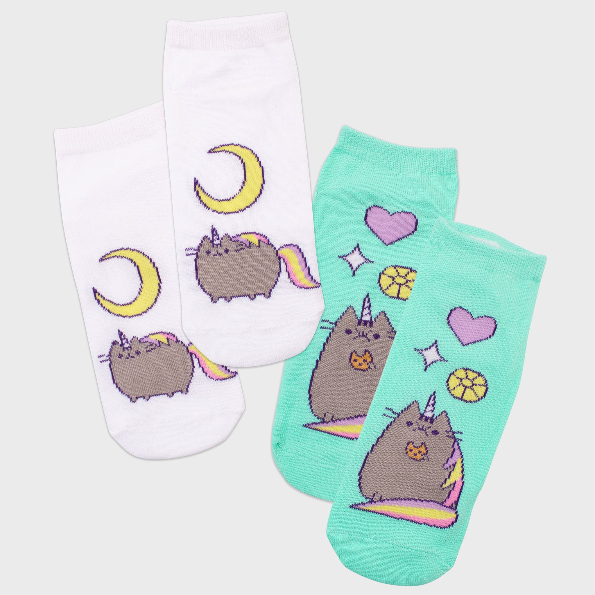 pusheen socks 2 pack pair unicorn pusheenicorn pink teal apparel accessory cute cat culturefly
