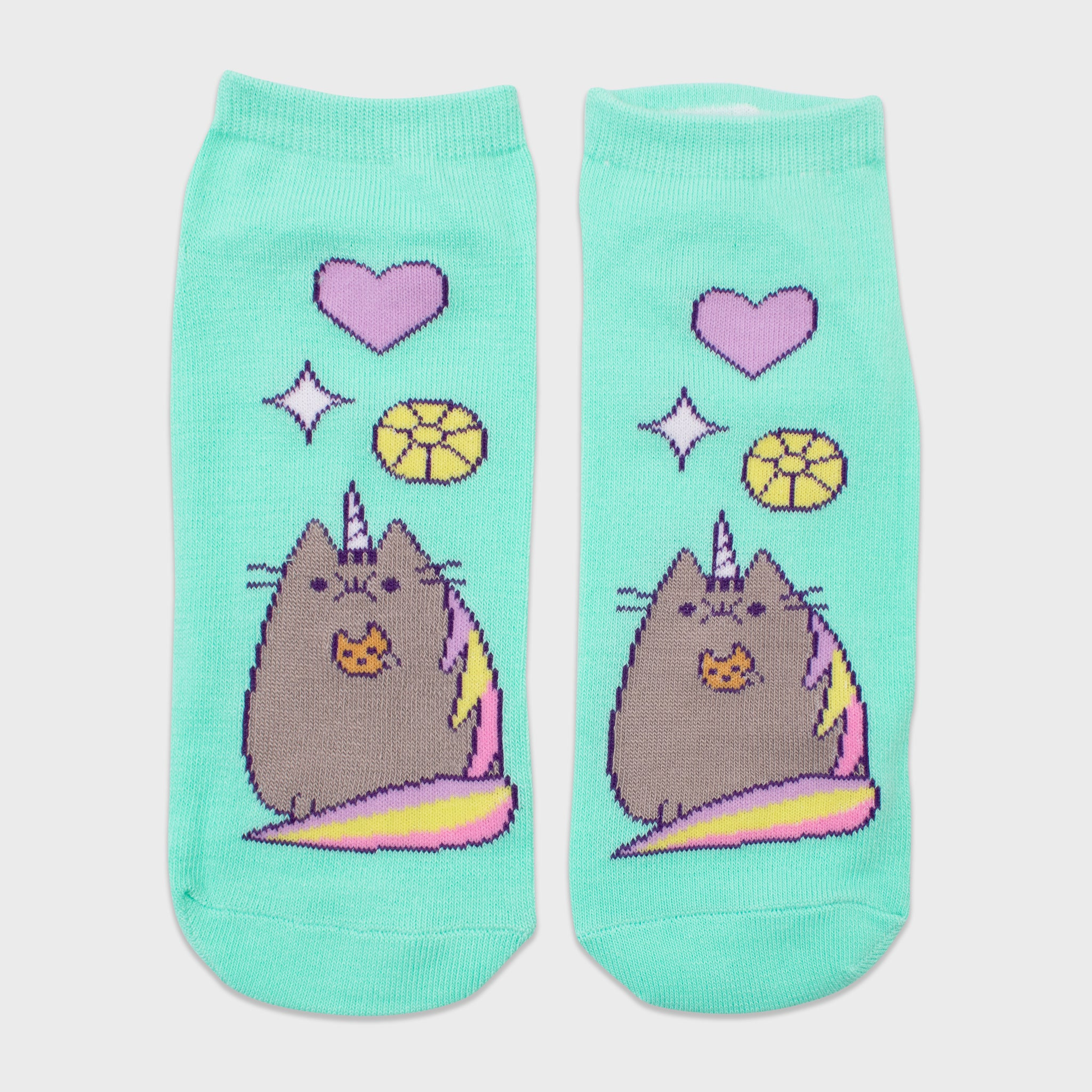 pusheen socks 2 pack pair unicorn pusheenicorn teal apparel accessory cute cat culturefly
