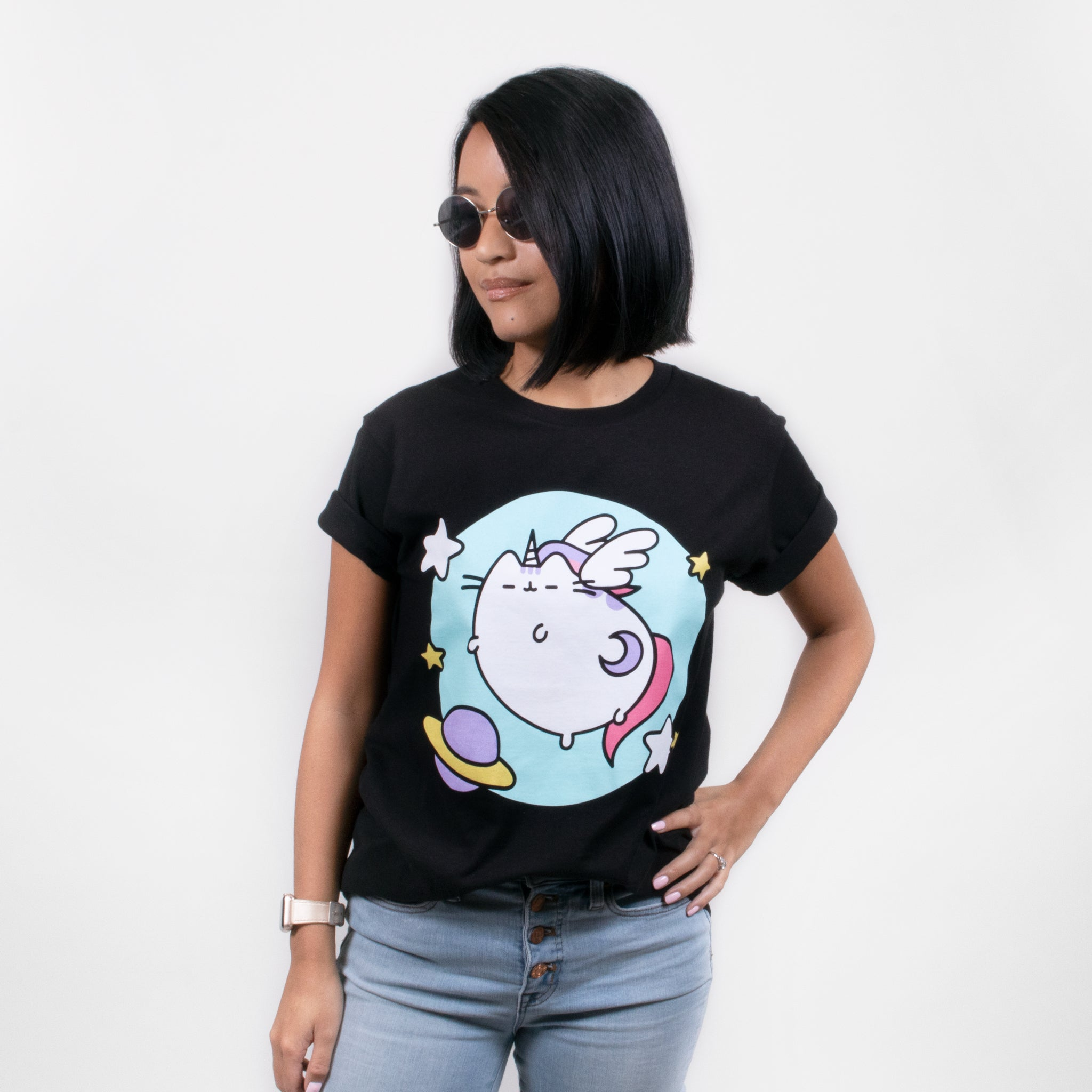 women pusheen t-shirt shirt apparel unicorn pusheenicorn space mystical cute cat culturefly