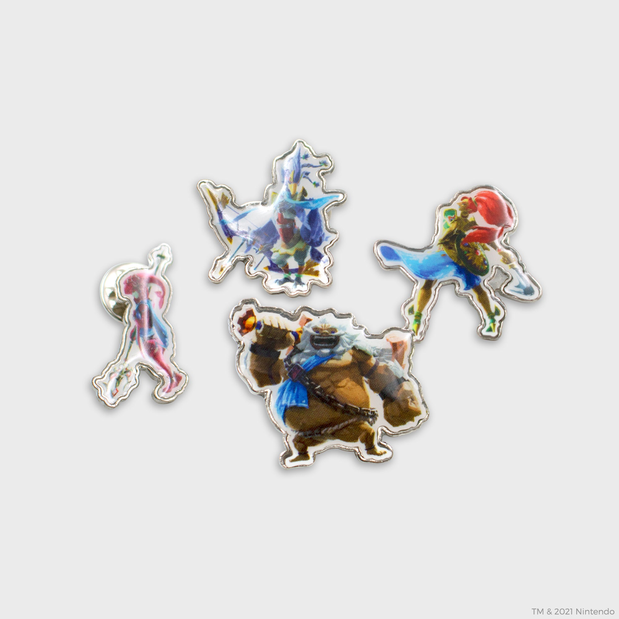 the legend of zelda breath of the wild botw link champions mipha urbosa ravili daruk hyrule shiekah slate nintendo nintend switch collector's box collectibles exclusive culturefly enamel pin set