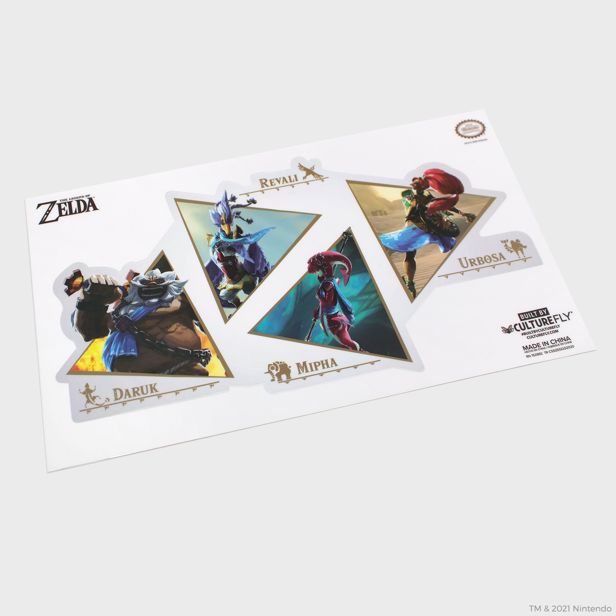 the legend of zelda breath of the wild botw link champions mipha urbosa ravili daruk hyrule shiekah slate nintendo nintend switch collector's box collectibles exclusive culturefly sticker decal