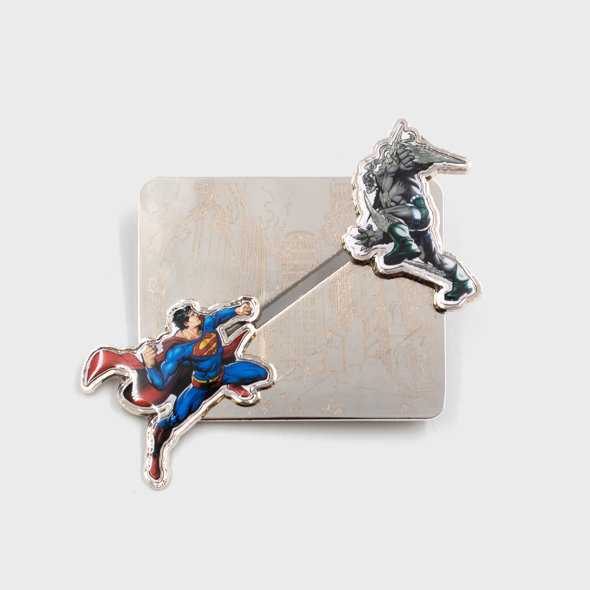 world's finest the collection exclusive collectible mystery box dc comics culturefly sliding pin superman doomsday
