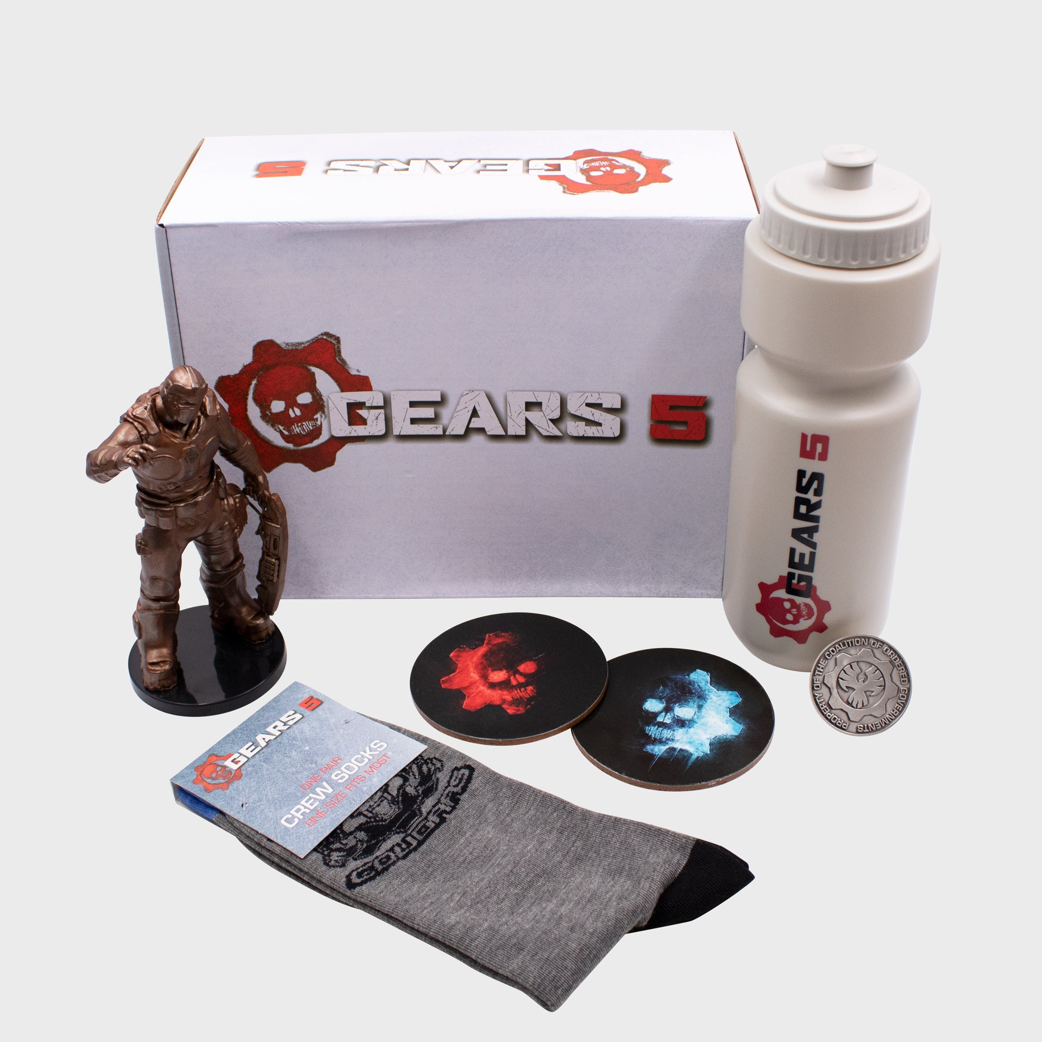 gears 5 collector box collectibles culturefly accessories exclusive vinyl figure water bottle coaster collector coin socks