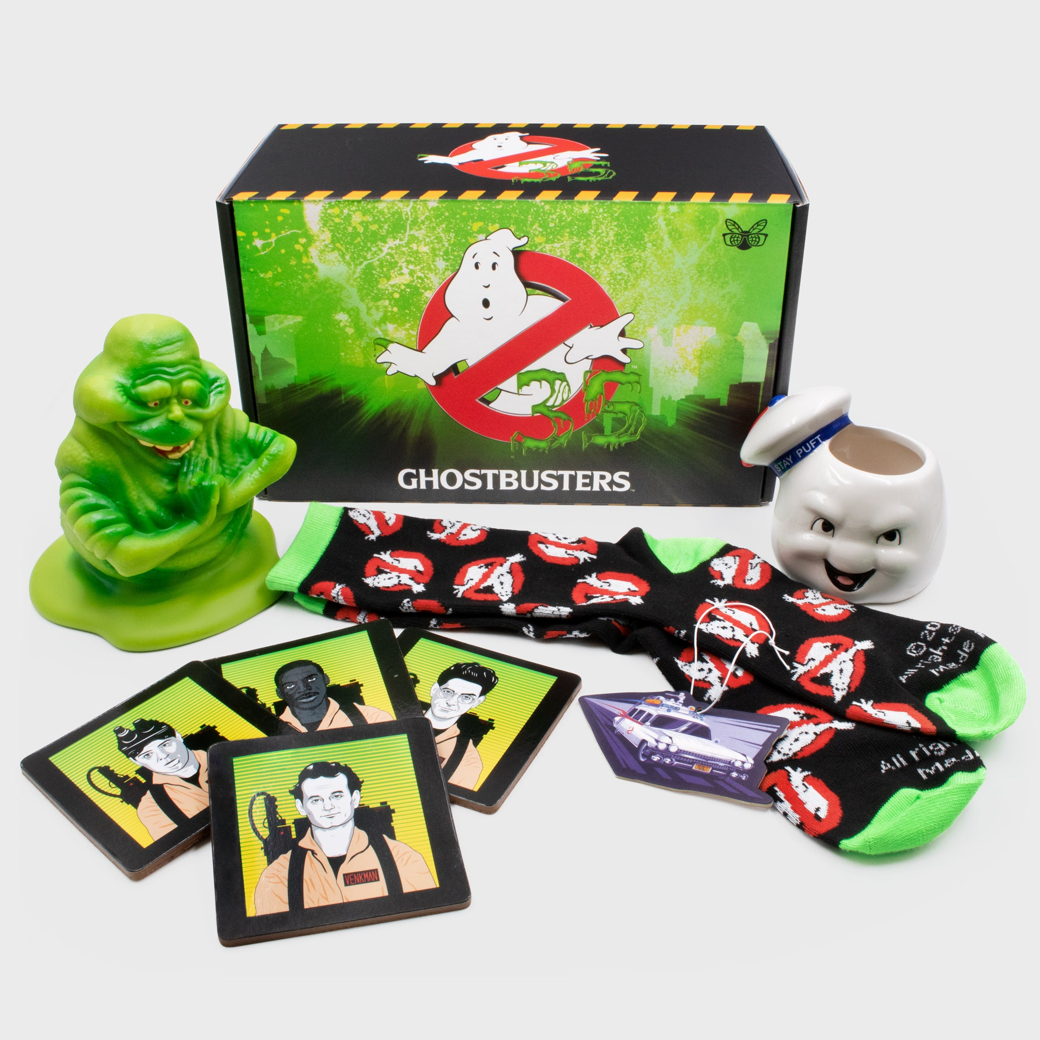 ghostbusters classic 35th anniversary movie ghosts slimer collectors box exclusive collectible culturefly vinyl figure planter stay puft coaster set socks air freshner