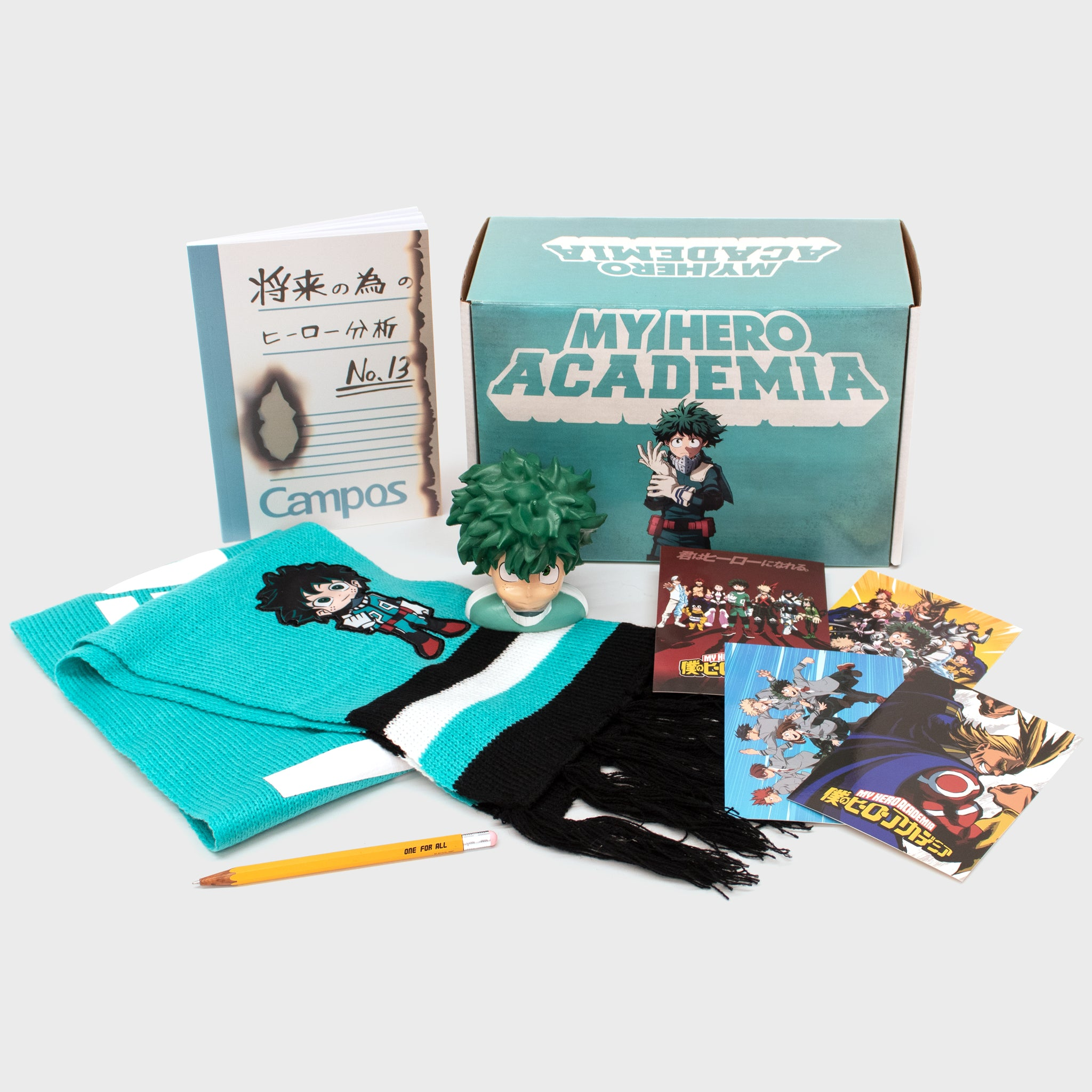 my hero academia mha deku izuku midoriya anime collector's box collectibles exclusives back to school winter all might accessories culturefly