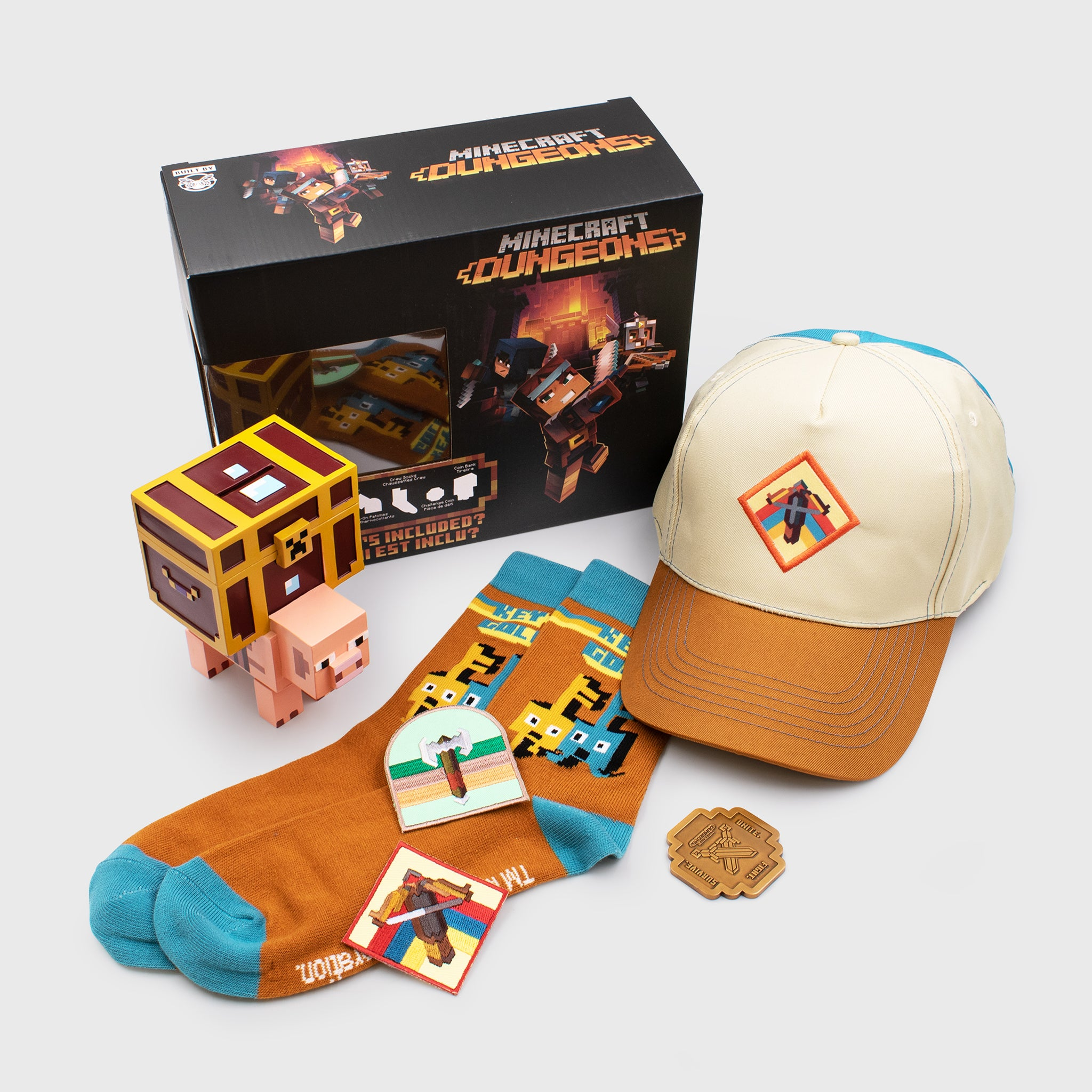 minecraft dungeons collectors box mojang hat dad cap piggy bank socks collectible coin patches culturefly