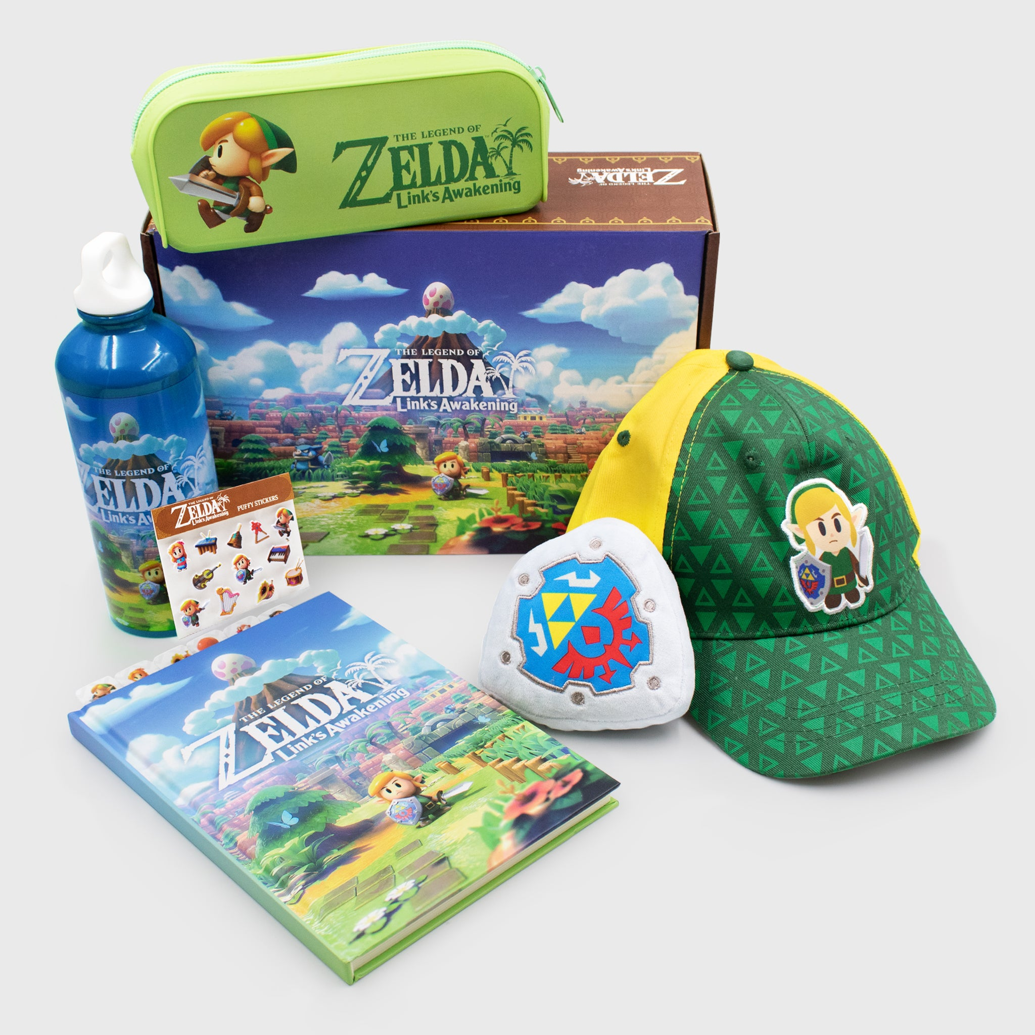 the legend of zelda link's awakening 2019 nintendo loz collector's box exclusive collectible hat pencil pouch plush water bottle stickers notebook culturefly