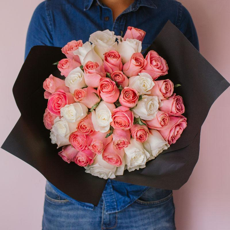 Happiness Bouquet - 50 rosas en 2 tonos-Monterrey