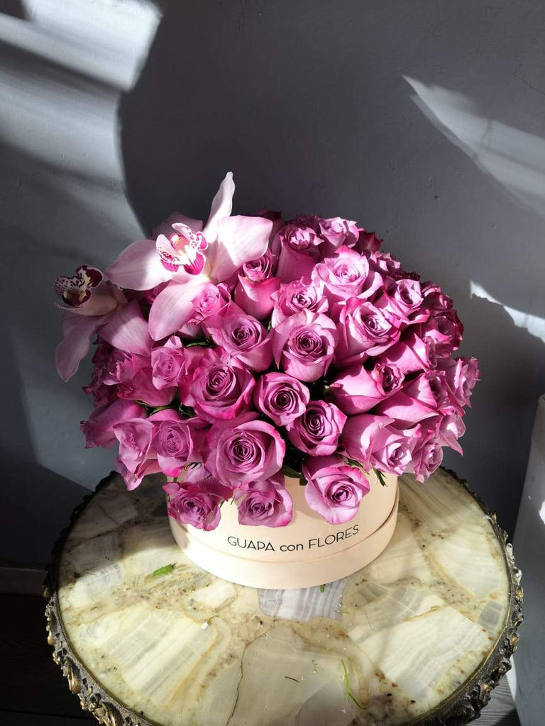 Purple Love -  100 Rosas moradas  con orquídeas