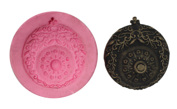 Antique Design Emposed Round Pendant Mould - Claysphere