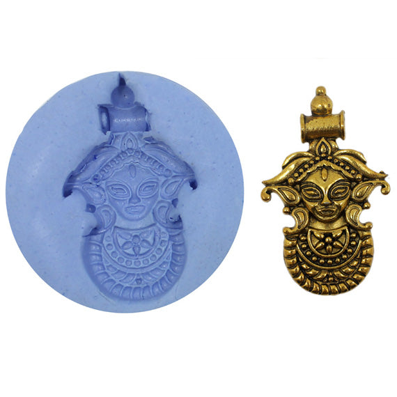 Aishani Durga Pendant Temple Mould - Claysphere