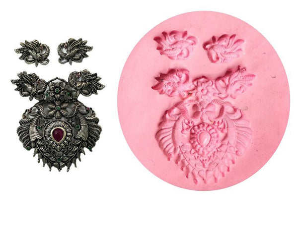 Peacock Design Pendant Mould - Claysphere