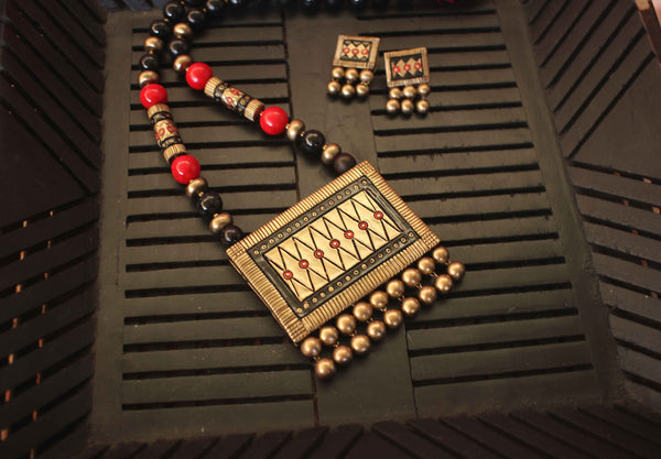 Traditional Dazzling Terracotta Jewellery Set (Antique bronze) - Claysphere