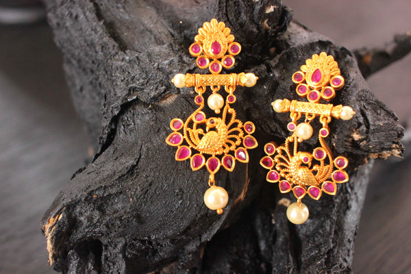 Cocktail Designer Wear Matte Gold Plated Earrings - Claysphere