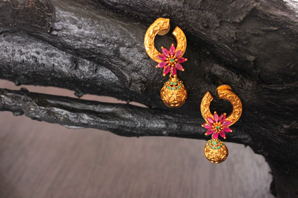 Adorable Classy Look Designer Pendant Matte Gold Plated Earrings - Claysphere