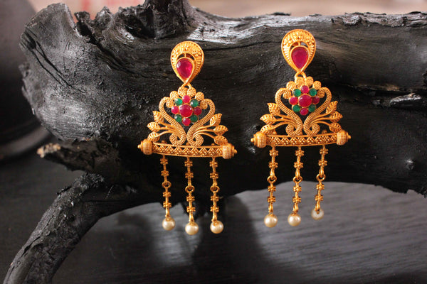 Classy Designer Temple Inspired Matte Gold Plated Earrings - Claysphere