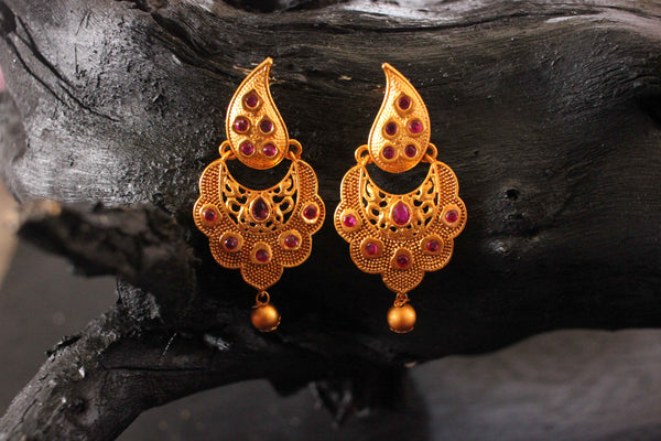 Fancy Daily Wear Evergreen Matte Gold Plated Earrings - Claysphere