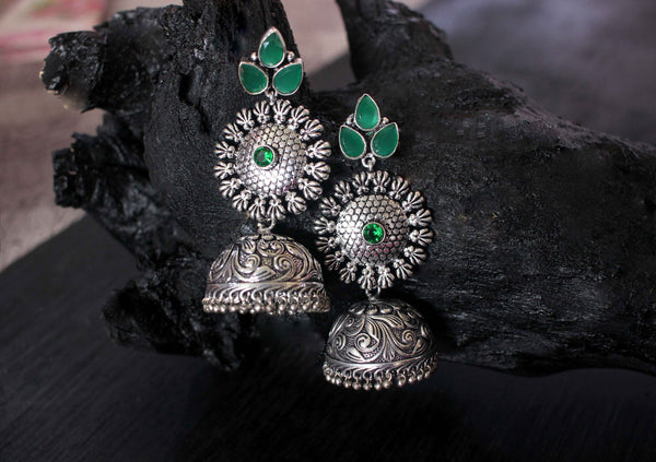 Traditional Wear German Silver Earrings - Claysphere