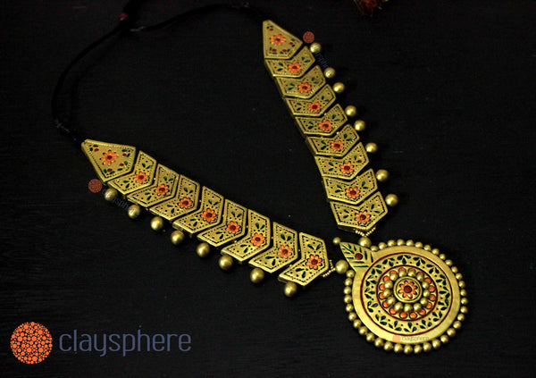 Golden Charm Traditional Terracotta Jewellery set - Claysphere