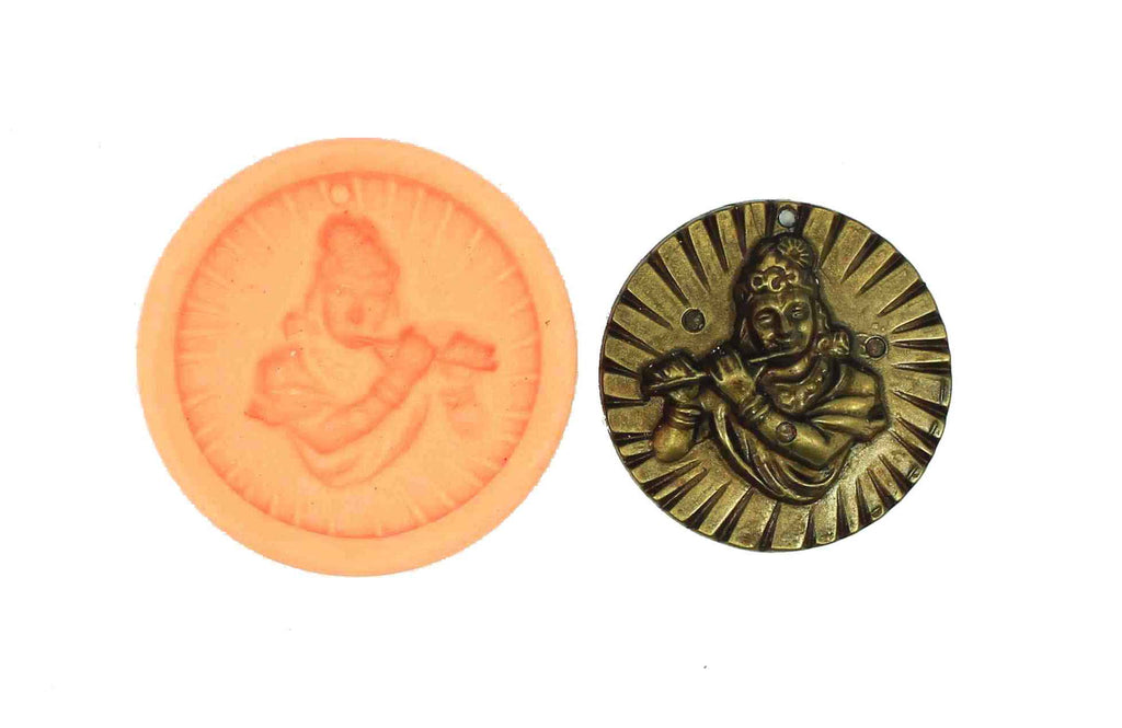 Krishna Playing Flute Temple Mould - Claysphere