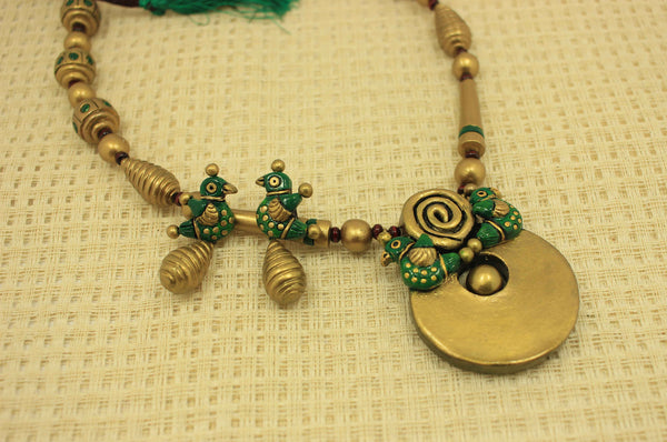 Elegant sparrow terracotta jewellery set - Claysphere
