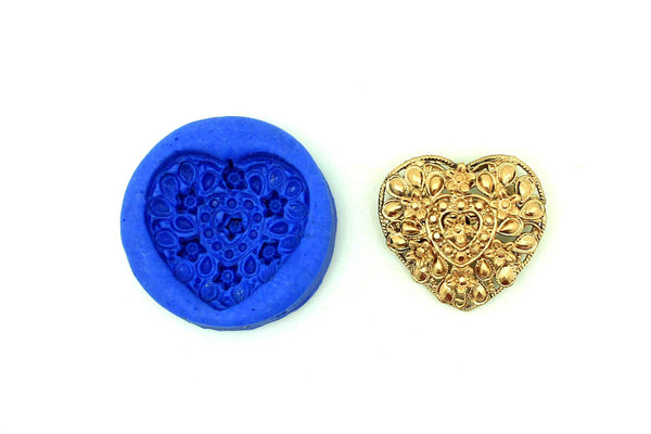 Lovely Heart Floral Mould - Claysphere