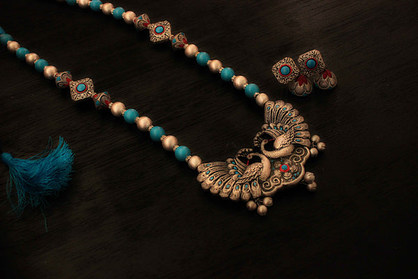 Earthern peacock terracotta jewellery set (antique silver) - Claysphere