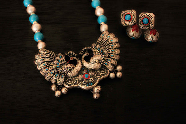 Earthern peacock terracotta jewellery set (antique silver & Aqua blue) - Claysphere