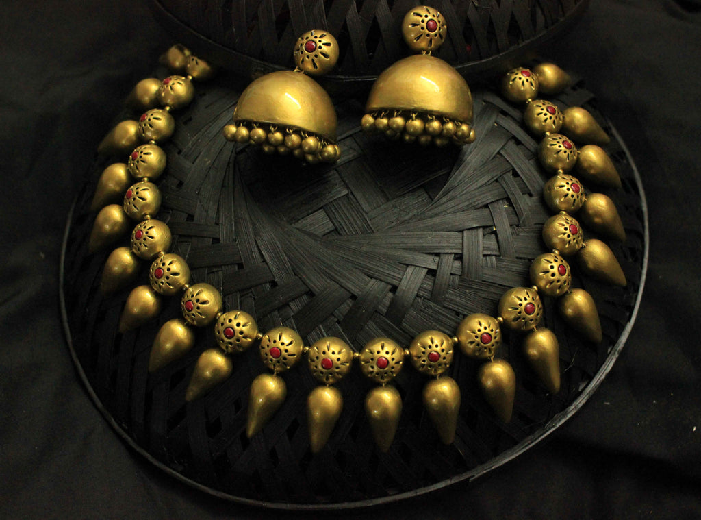 Golden Drop terracotta jewellery set - Claysphere