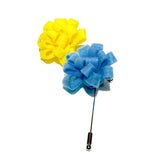 Yellow and Blue Felt Flower Lapel Pin