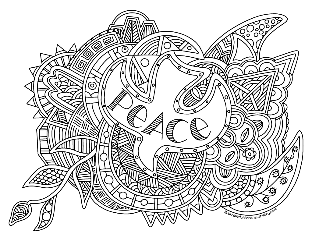 Peace coloring poster B&W