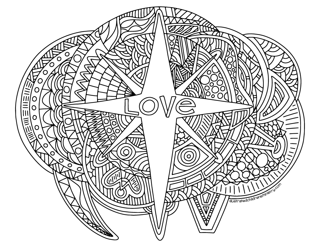 Love coloring poster B&W